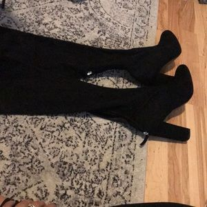 EMOTIONS BLACK SUEDE OVER THE KNEE BOOTS